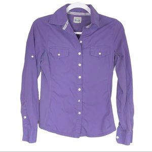 Converse Star Purple Button Down Shirt Extra Small